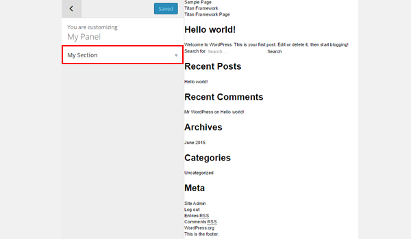 Creating Theme Customizer Section with Titan