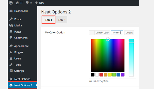 The Color Picker in the Tab