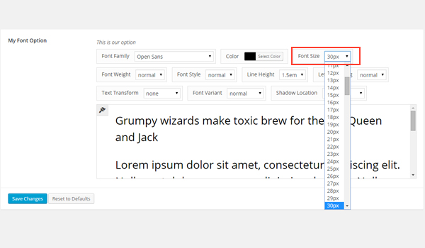 Setting font-size in the dashboard
