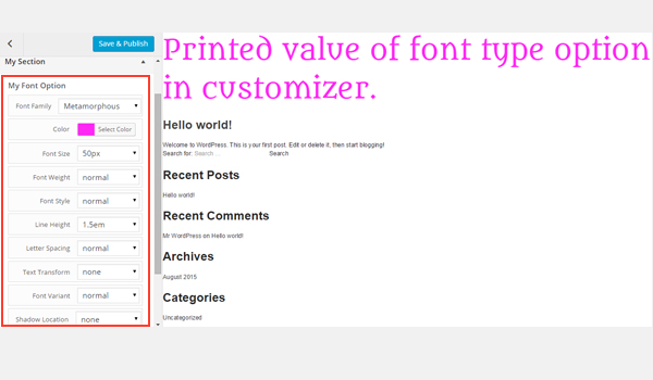 Previewing the fonts from the Customizer