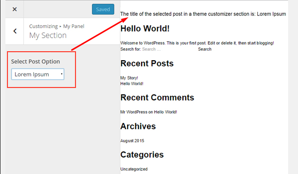 Viewing the results of the selected post in the Customizer