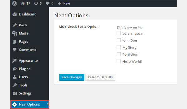 Adding a multi-check option to the Neat Options