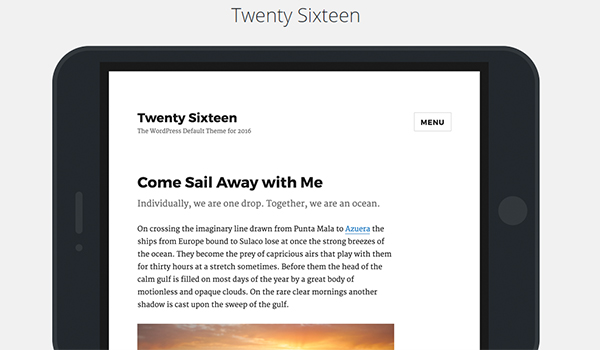 Twenty Sixteen Welcome Page
