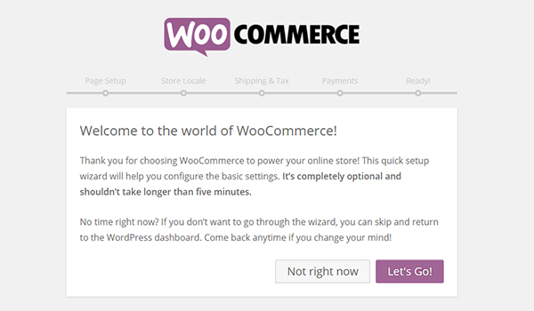 WooCommerce welcome page