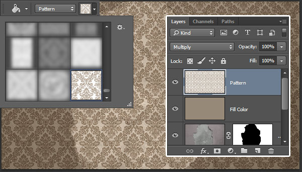 Fill the new layer with the wallpaper pattern