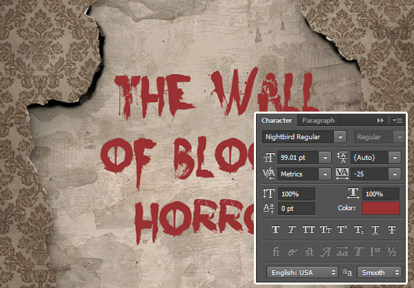 Add the text The Wall of Bloody Horror