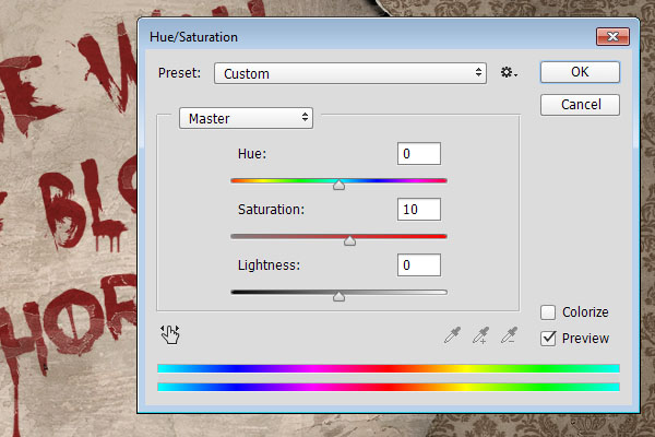 Adjust hue and saturation