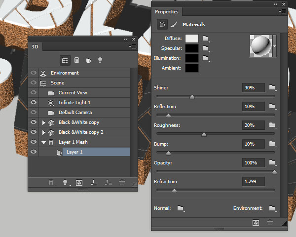 Layer 1 Material Settings