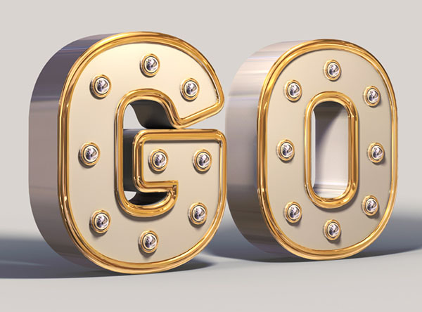 Create a shiny, white and gold, 3d text effect in adobe photoshop.