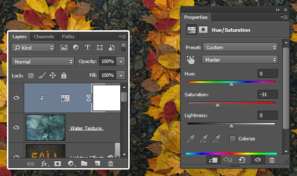 Add a HueSaturation Adjustment Layer