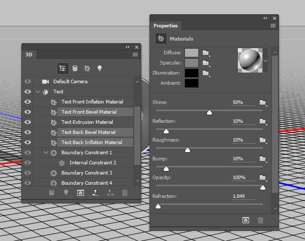 Text Material Settings