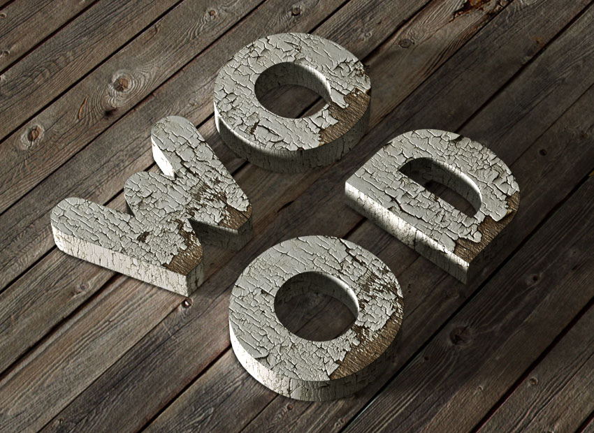 How to Create a 3D Chipped, Painted Wood Text Effect in Adobe Photoshop