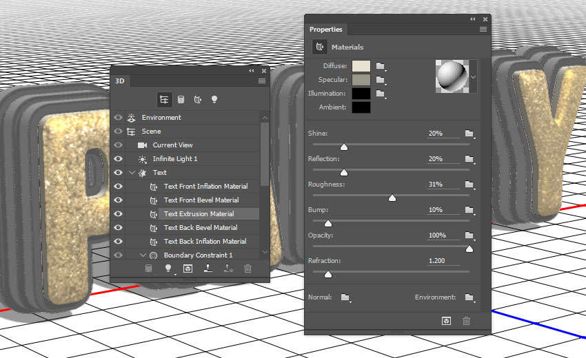 Text Extrusion Material Settings