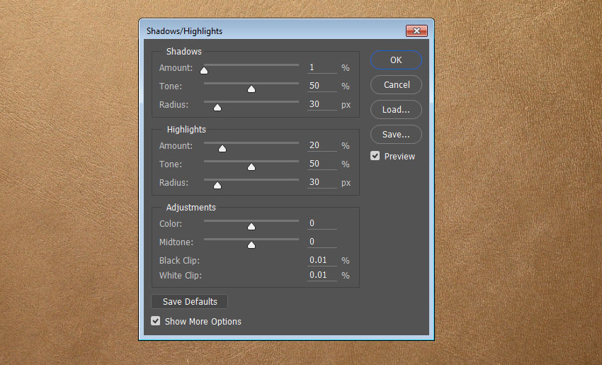 ShadowsHighlights Settings