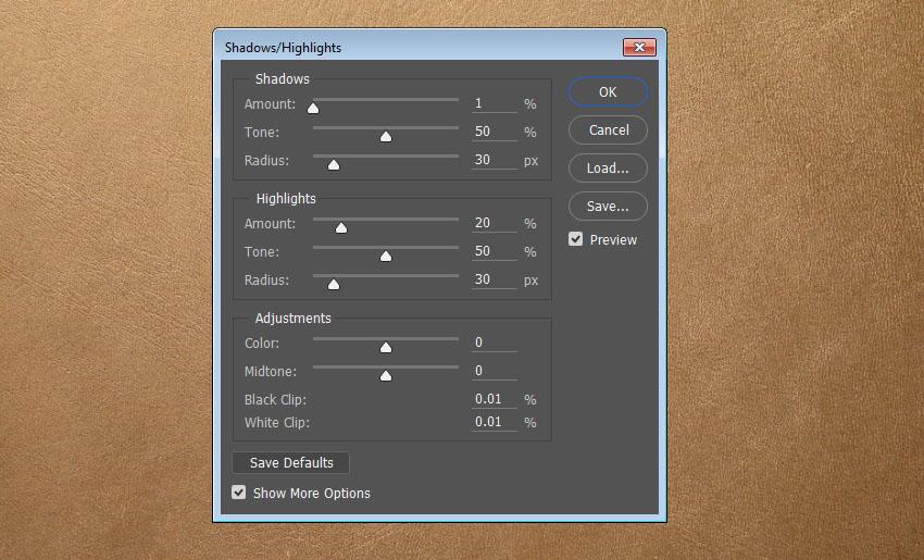 ShadowsHighlights Settings