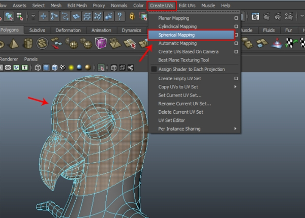 Selecting the Head Mesh