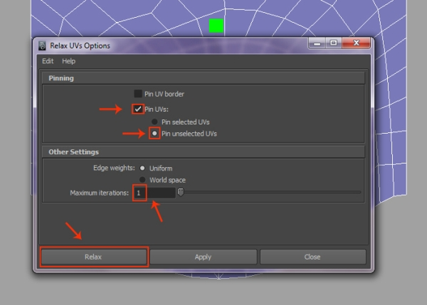 Changing the Parameters of Relax UVs Options Box