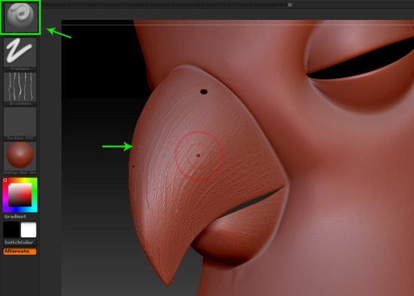 Sculpting the beak mesh