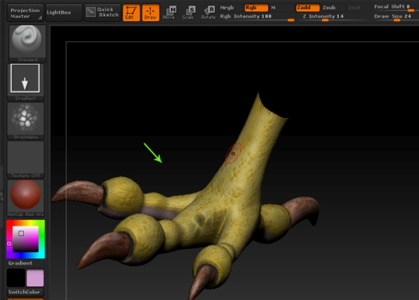 Sculpt and paint the leg mesh