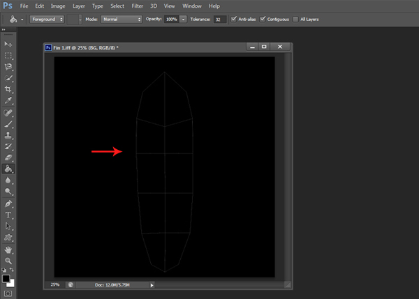 Import the UV in Photoshop