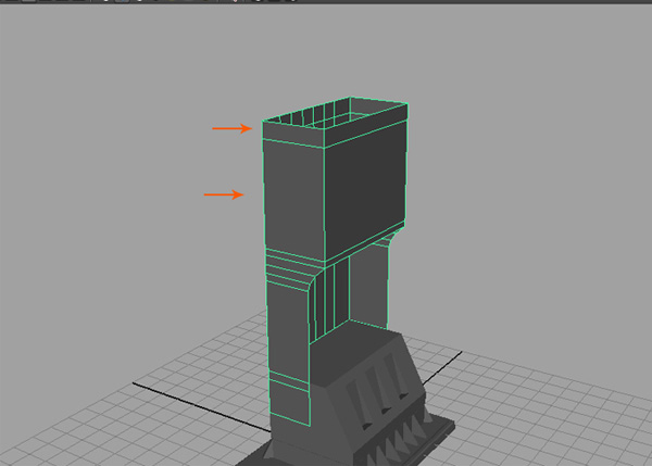 Extrude the top border edges