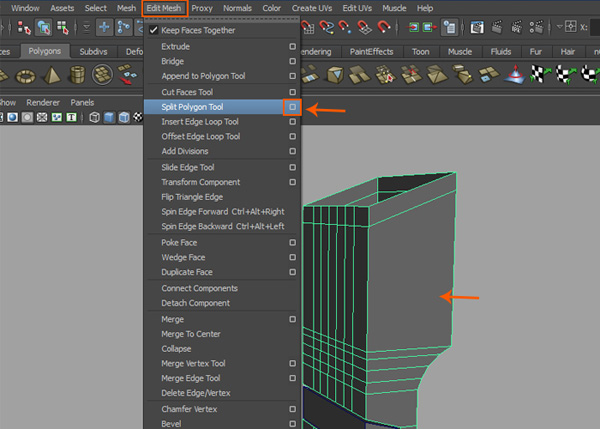 Edit Mesh  Split Polygon Tool option