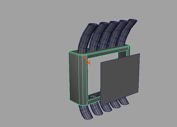 Delete the center face of the box mesh