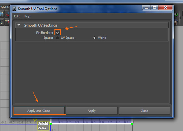 Smooth UV Tool Options window