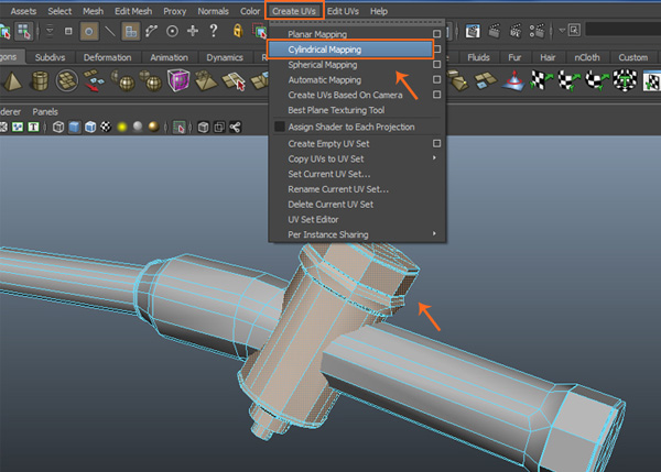Create UVs  Cylindrical Mapping command