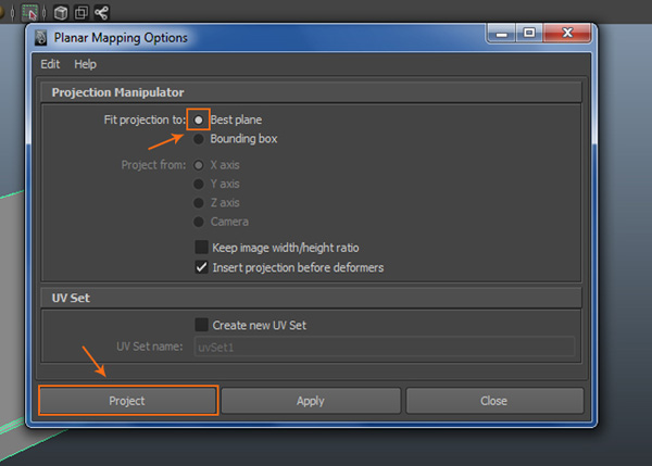 Planar Mapping Options window