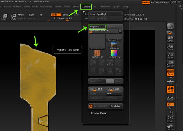 Texture menu i
