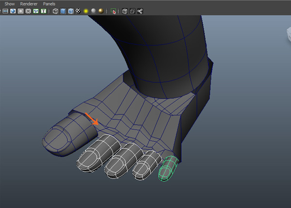 Duplicate the toe mesh