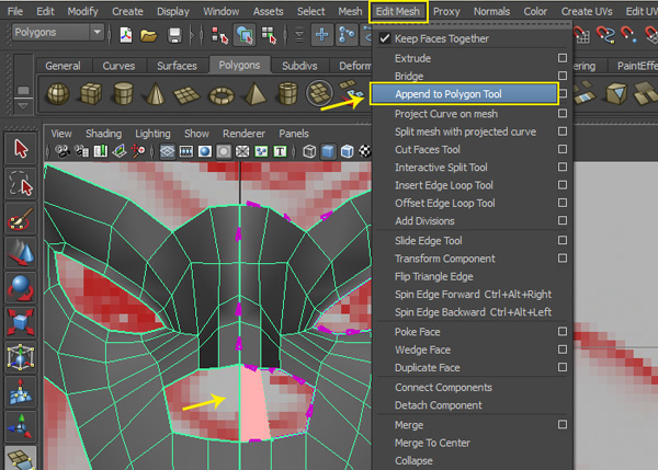 Edit Mesh  Append to Polygon Tool