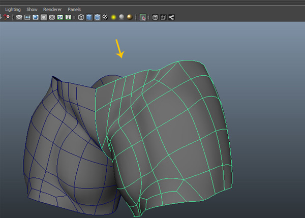 Isolate the pant poly mesh