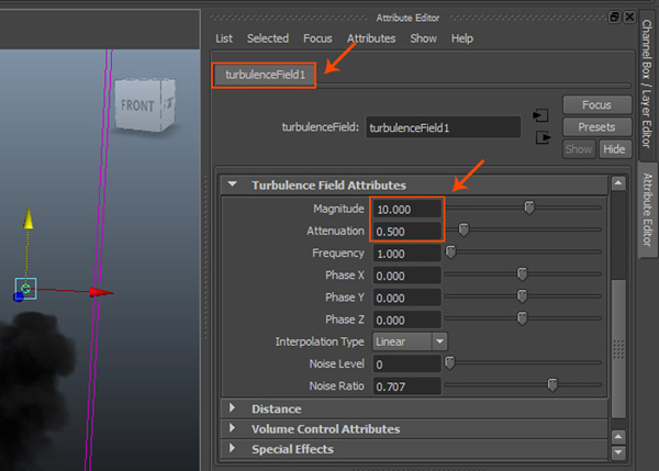 Turbulence Field Attributes roll out