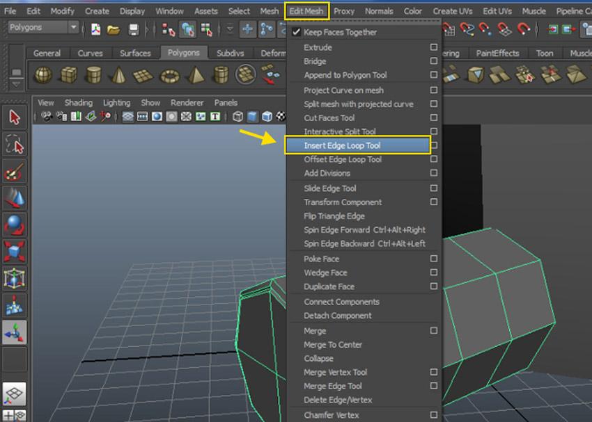 Edit Mesh  Insert Edge Loop Tool