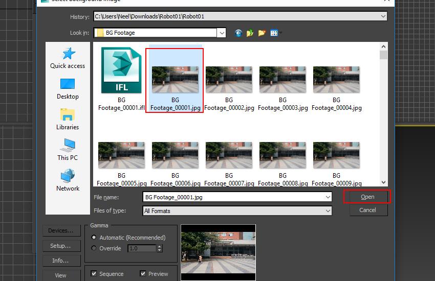 Select the BG Footage