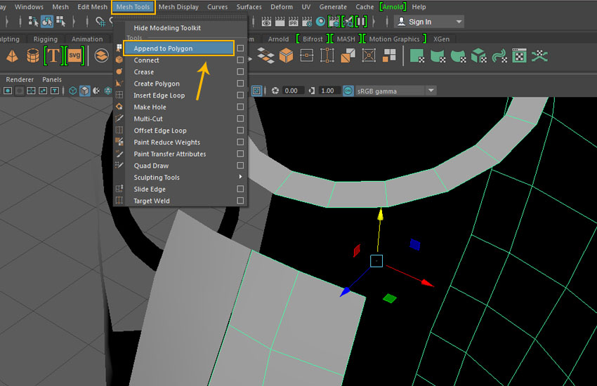 Mesh Tool  Append to Polygon tool