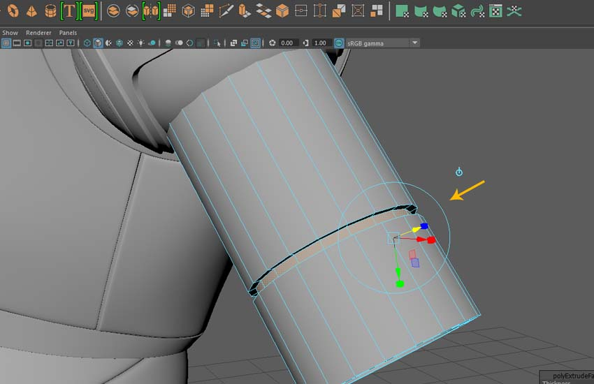 Extrude the faces inside
