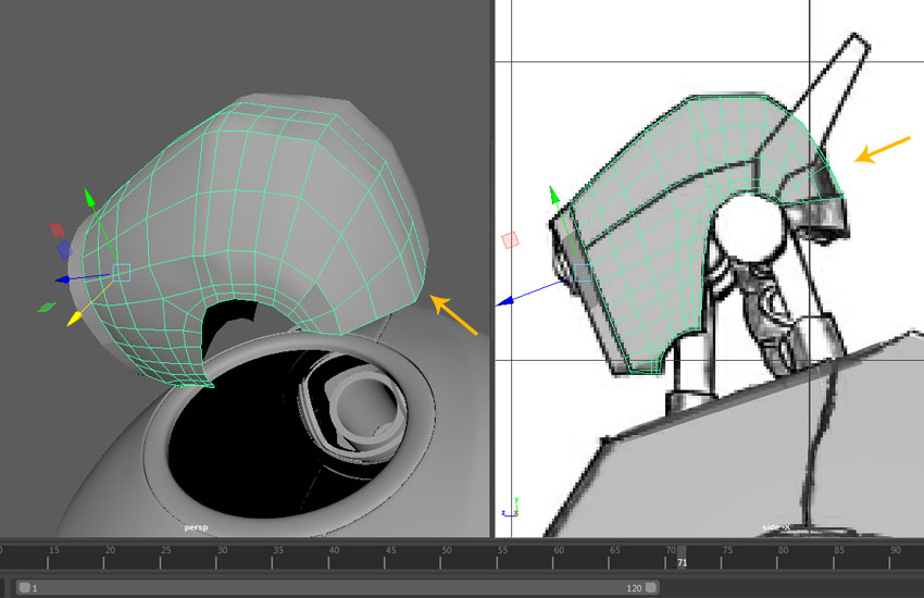 The basic modeling of head top and side cover is done