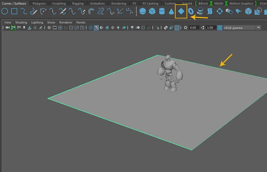 Create a surface plane