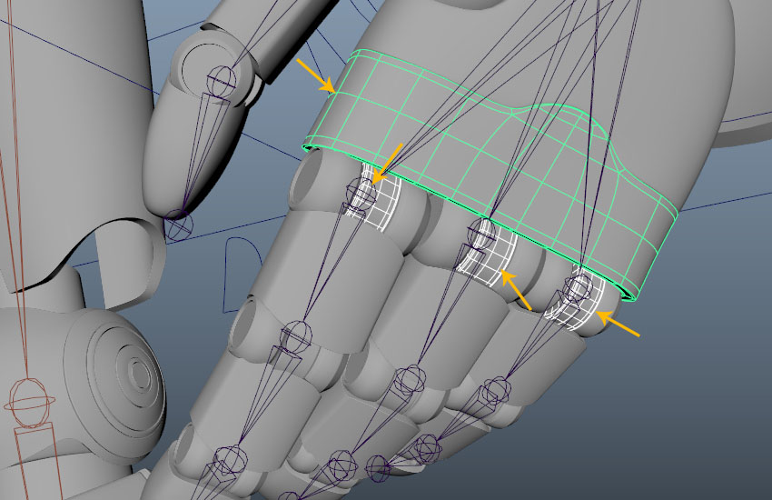 Select all finger connector meshes