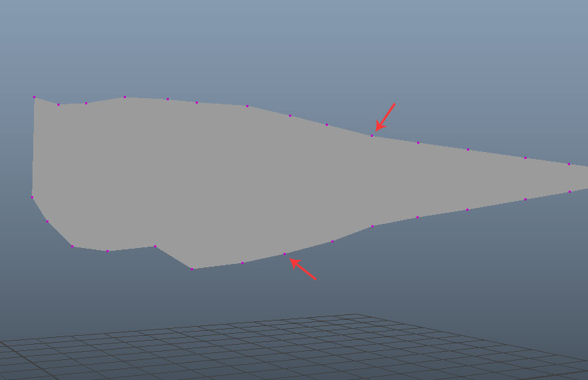 Vertices on the outline mesh