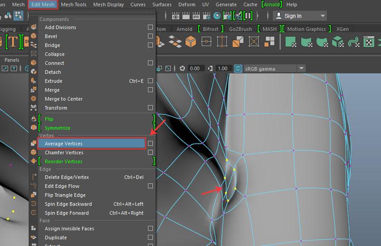 Edit Mesh  Average Vertices command