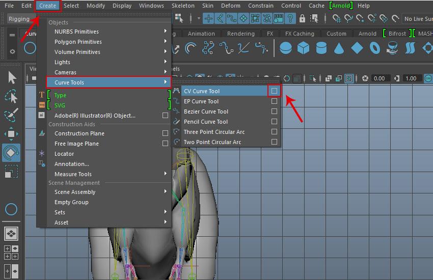 Create  Curve Tools  CV Curve Tool