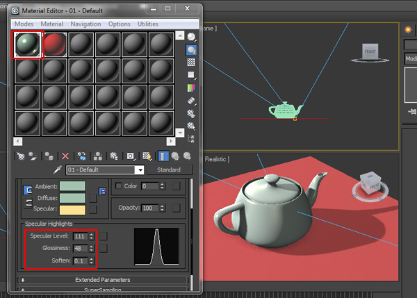 Increase the Specular level and Glossiness
