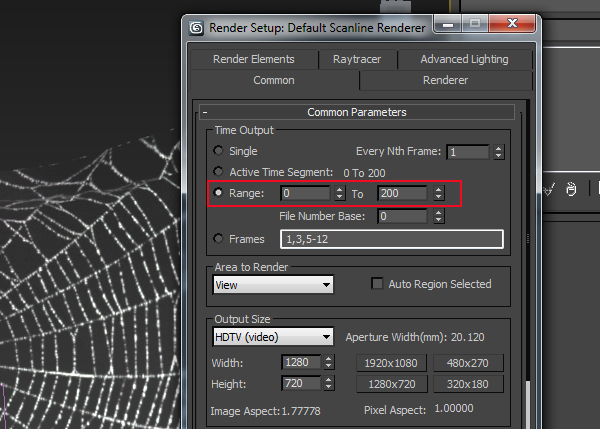 Render Setting window