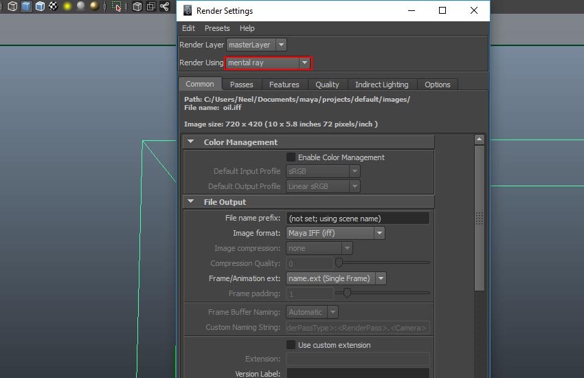 Render Settings window
