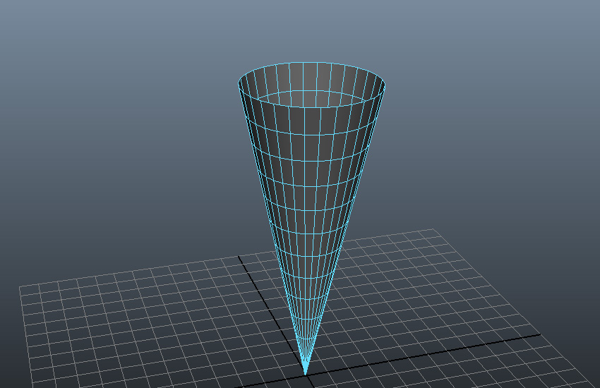 Select the top face of the cone and delete