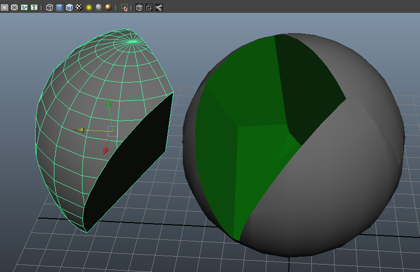 Move a broken chunk of the sphere